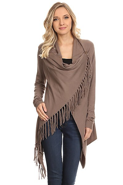 Knit Open Crossover Cardigan Shawl Sweater W/ Fringe-Walnut