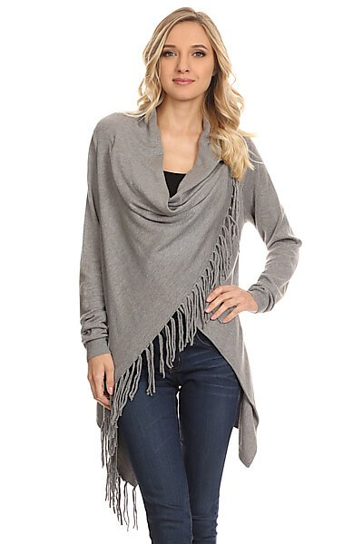 Knit Open Crossover Cardigan Shawl Sweater W/ Fringe-Heather Ash