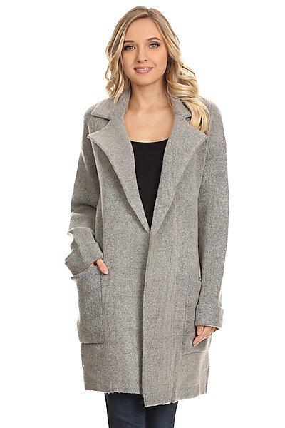 Open Long Sweater Cardigan Coat W Pockets-Heather Grey