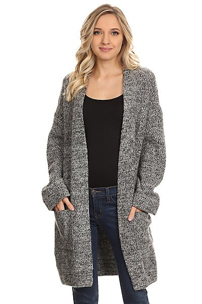 Open Warm Knit Long Cardigan Sweater With Pockets-Charcoal