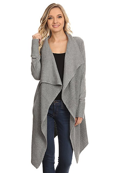 Crossover Shawl Cardigan Sweater W/ Side Pockets-Heather Grey