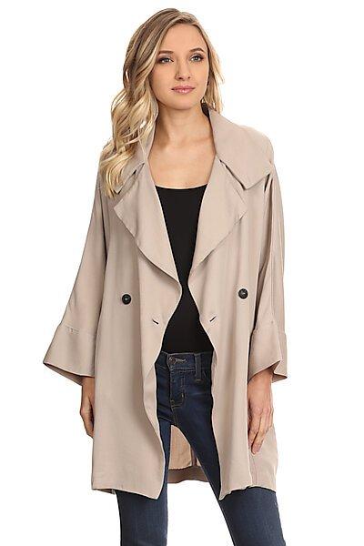 Oversized Woven Button Down 3/4 Sleeve Light Jacket-Warm Grey