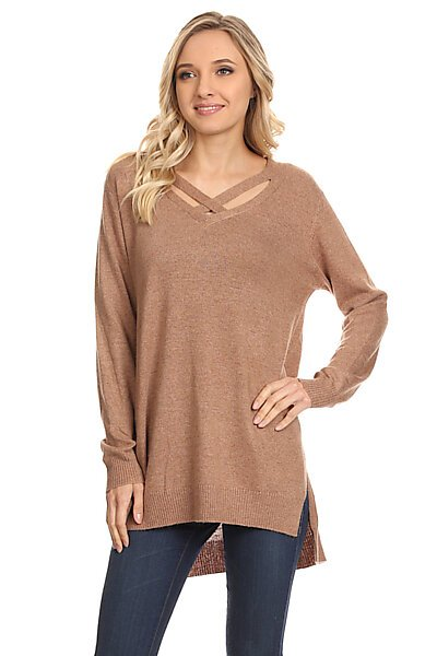 Long Sleeve V-Neck Knit Sweater Tunic Top W/ Strap Details-Mocha