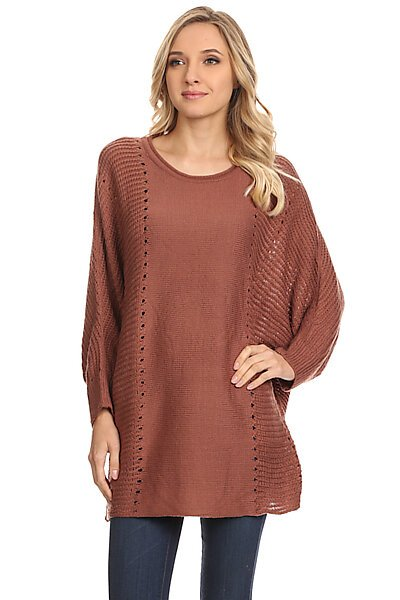 Dolman Sleeve Sweater Top W/ Contrast Knit-Rust