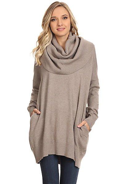Oversized Cowl Neck Knit Sweater Tunic W Side Pocket-Mocha
