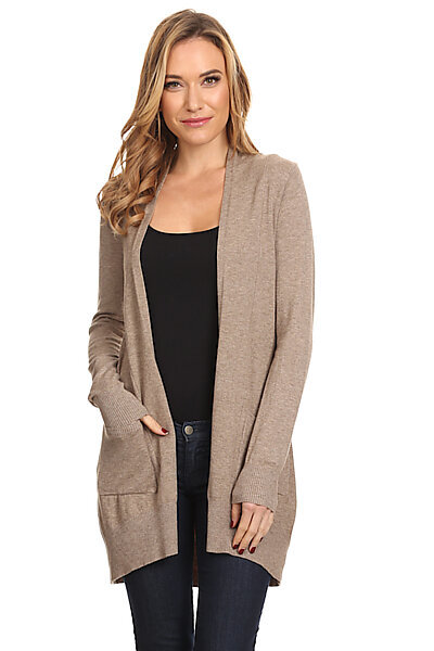 Basic Open Front Knit Cardigan With Pockets-Mocha