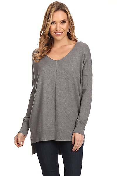 Oversized V-Neck Pullover Sweater Top W Slight Hi-Low-Ch. Grey