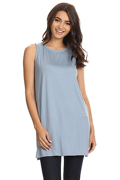 Loose Fitted Long Jersey Tank Top With Side Slits-Dusty Blue