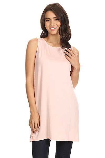 Loose Fitted Long Jersey Tank Top With Side Slits-Light Rose