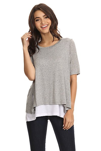 Double Layer Loose Fit Top w/Shortsleeves-Heather Grey White
