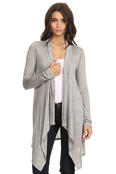 Open Front Jersey Cardigan W/ Uneven Hem-Heather Grey