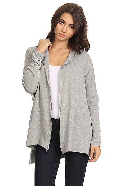 Oversized Knit Zipper Hoodie W/ High Side Slits-Heather Grey