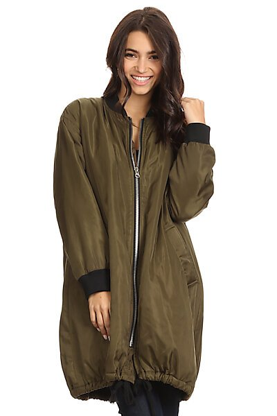 Oversized Padded Bomber Jacket Coat w/ Sleeve Pocket-Olive