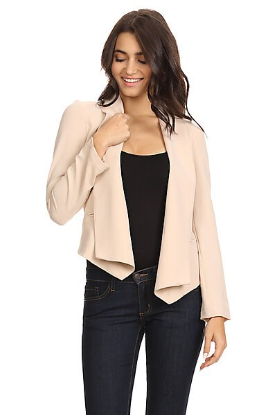 Structured Open Front Lined Blazer w/ Welt Pockets-Sand