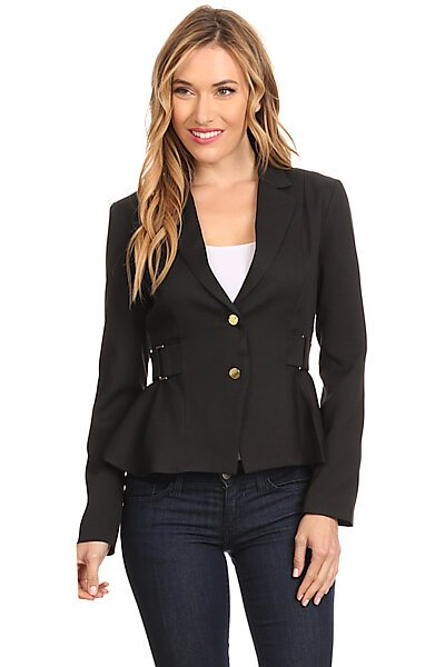 Blazer Suit Jacket W/ Front Button and Buckle Detail-Black