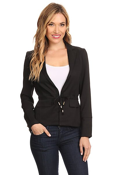 Blazer Suit Jacket W/ Adjustable Waist Tie & Buttons-Black