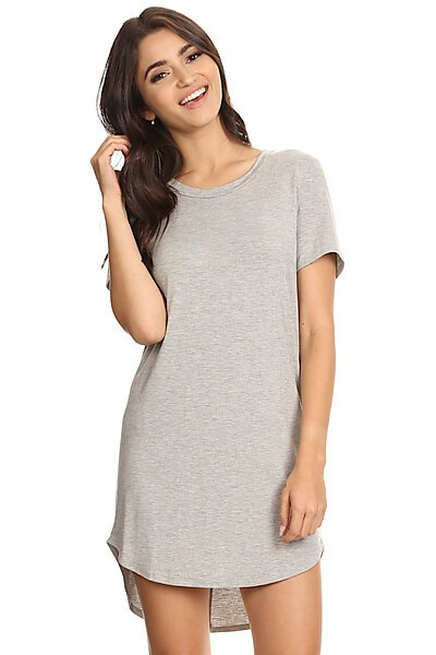 Basic Short Sleeve T-Shirt Dress w/ Round Hem-Heather Grey
