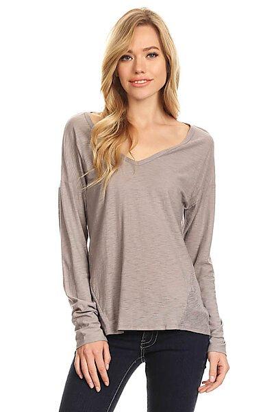 Casual Slub Burnout Sexy V-Neck T-shirt Top w Back Seam-Light Grey