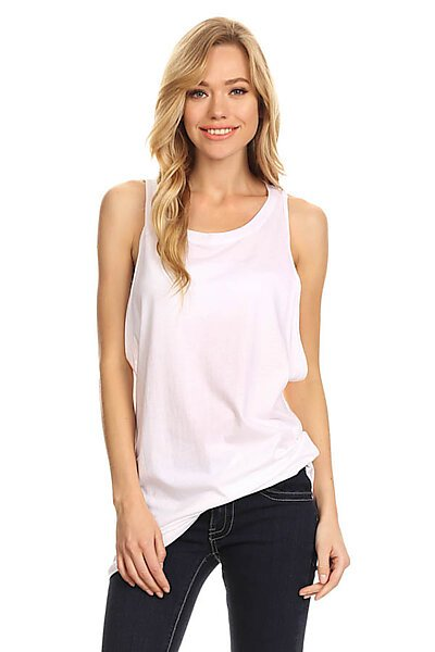 Casual Cotton Low Armhole Sexy Tunic Tank Top-White