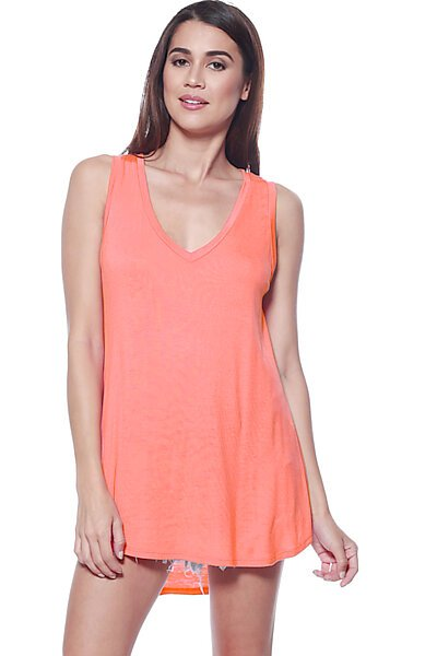 Casual Loose Knit V-neck Tank with Uneven Hem-Fusion Coral