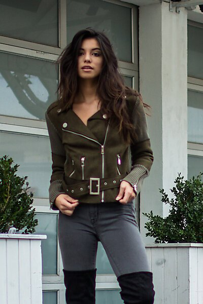 Faux Suede Moto Jacket With Knit Contrast-Olive
