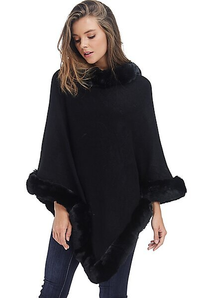 Faux Fur Sweater Poncho - Cape Winter Luxe Trim Shawl-Black