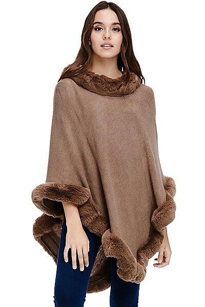 Faux Fur Sweater Poncho - Cape Winter Luxe Trim Shawl-Mocha