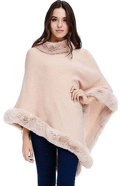 Faux Fur Sweater Poncho - Cape Winter Luxe Trim Shawl-Pink