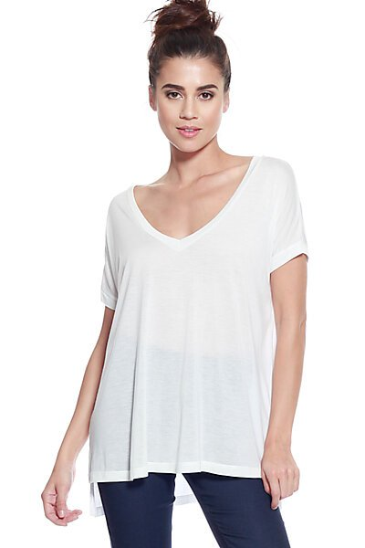 Soft Stretch Knit Vneck Top w/ Side Slit & Uneven Hem-White