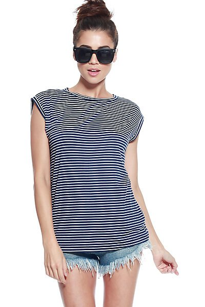 Loose Fit Stripe Scoop Neck Top with Split Back-Navy White