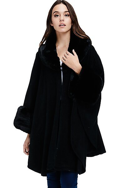 Faux Fur Trim Poncho - Sweater Luxe Winter Coat Wrap-Black