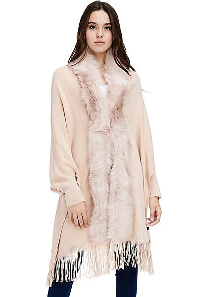 Faux Faur Wrap Poncho - Long Sleeve Sweater Fringe Trim-Pink