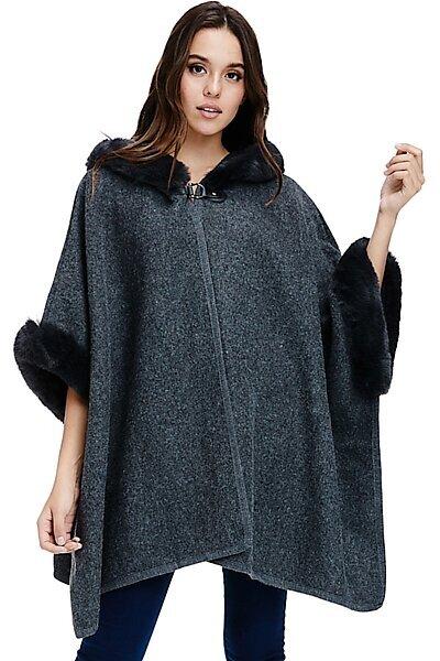 Faux Fur Coat Jacket - Poncho Luxe Trim Winter Parka-Grey