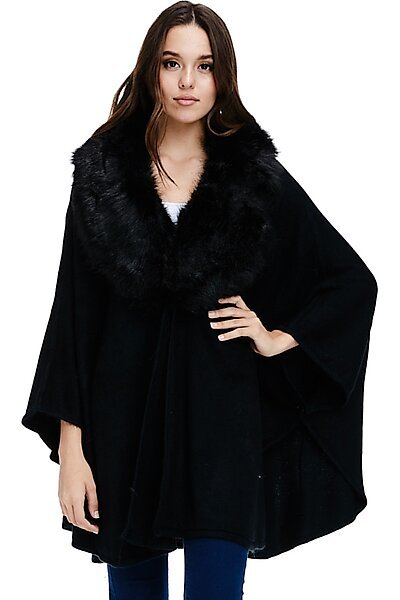 Faux Fur Trim Poncho - Oversized Sweater Fall Winter Cape-Black