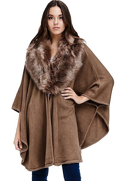 Faux Fur Trim Poncho - Oversized Sweater Fall Winter Cape-Mocha