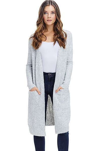 Long Duster Cardigan Sweater - Fall Winter Rib Sleeve-Grey