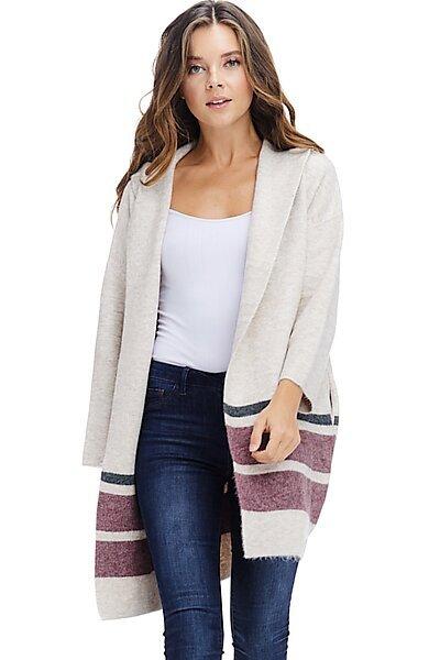 Fall Hoodie Jacket Coat - Open Front Brushed Sweater-Beige
