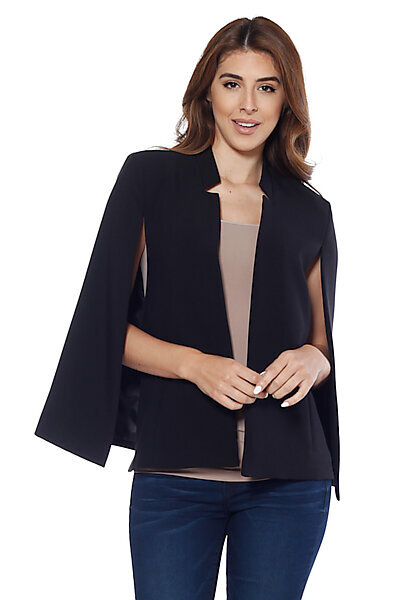 Structured Cape Blazer w/ Pockets-Black