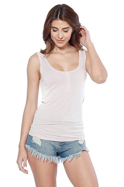 Tank Top w/ Low Scoop Neckline and Decorative Buttons-Peach
