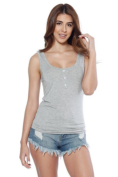 Tank Top w/ Low Scoop Neckline and Decorative Buttons-Heather Grey