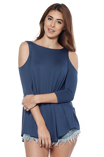 Soft Jersey 3/4 Sleeves Crewneck Top w/ Cold Shoulders-Navy Blue