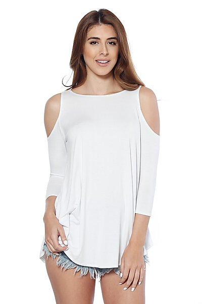 Soft Jersey 3/4 Sleeves Crewneck Top w/ Cold Shoulders-White