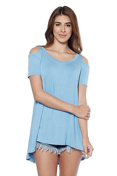 Loose Fitted Cold Shoulder Top With Hi-Low Hem-Denim Blue