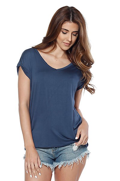 Raw Edge V-Neck Top With Cuffed Cap Sleeves-Navy