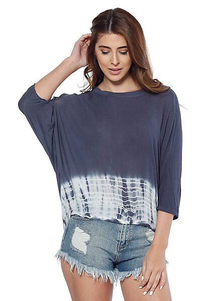 3/4 Sleeves Loose Dolman Top w/ Tie Dye Hi-Low Hem-Blue