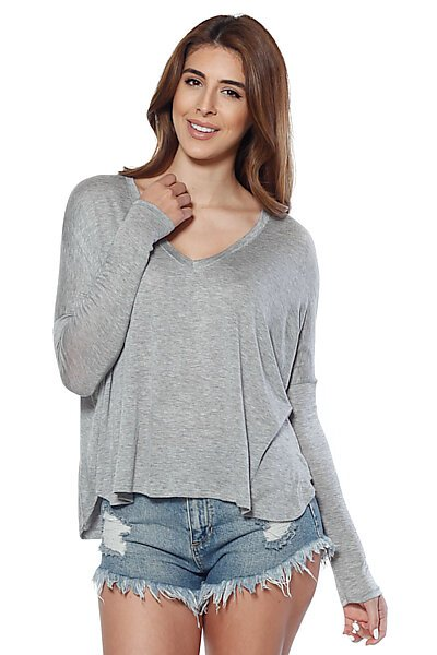 "Loose Fit ""V"" Neckline Hacci Top w/ Long Sleeves-Heather Grey"