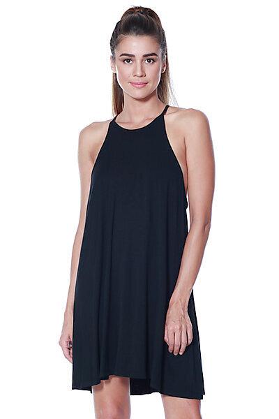 871ae39f9060 Knit Halter Neck Spaghetti Swing Dress-Black