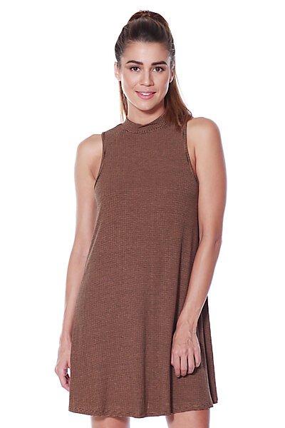 Knit Sleeveless Halter Neckline Shift Dress-Mustard