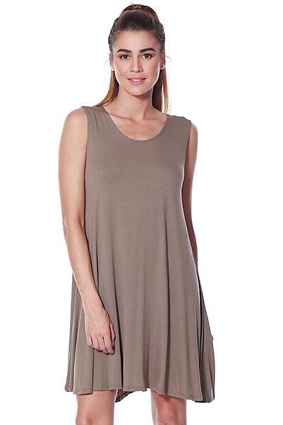 Loose Fit Flowy Stretch Knit Tank Midi Dress-Mushroom