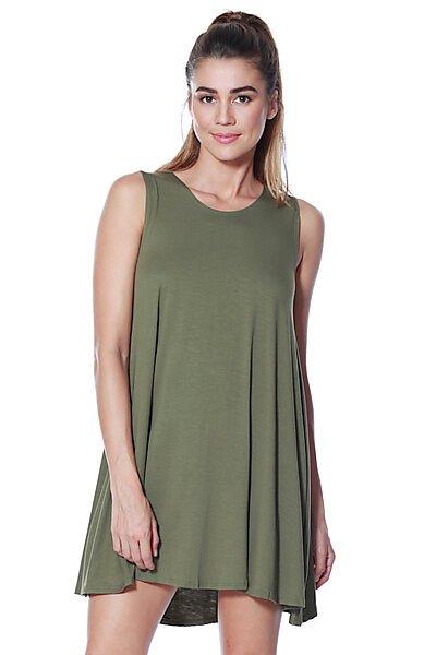 Loose Fit Flowy Stretch Knit Tank Midi Dress-Olive